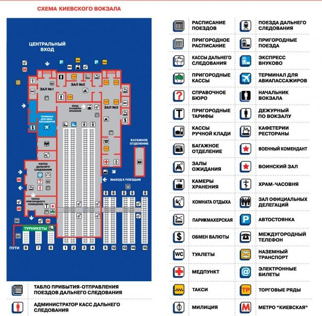 Схема Киевского вокзала в Москве