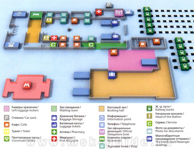 Схема Ленинградского вокзала в Москве
