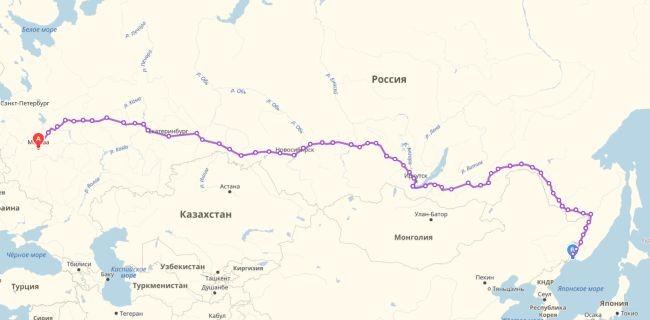 Маршрут движения фирменного поезда Россия (Москва - Владивосток)